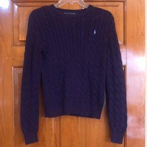 Ralph Lauren purple cable knit sweater